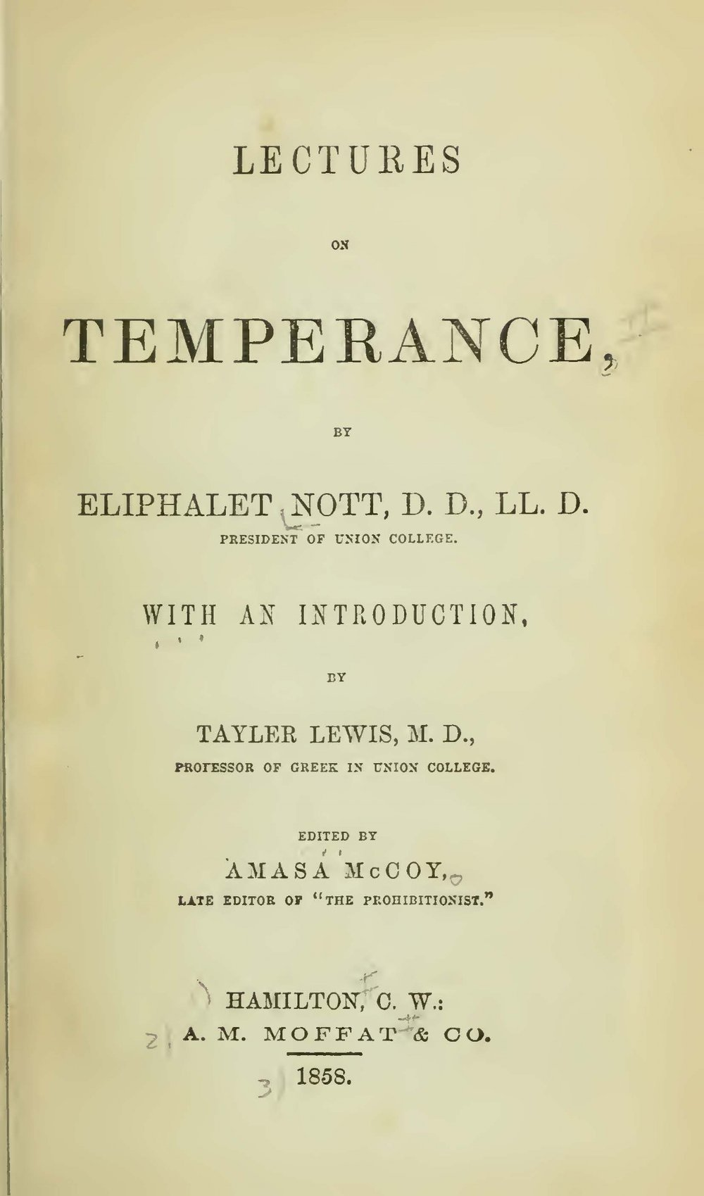 Nott, Eliphalet, Lectures on Temperance Title Page.jpg
