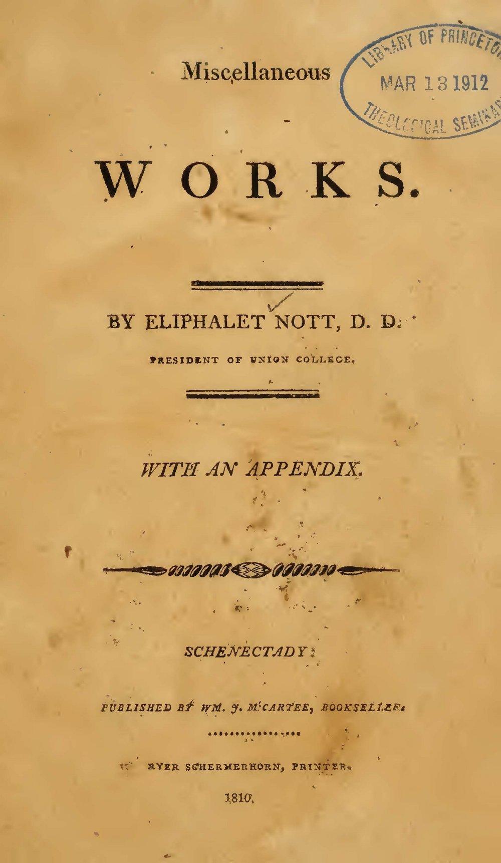 Nott, Eliphalet, Miscellaneous Works Title Page.jpg