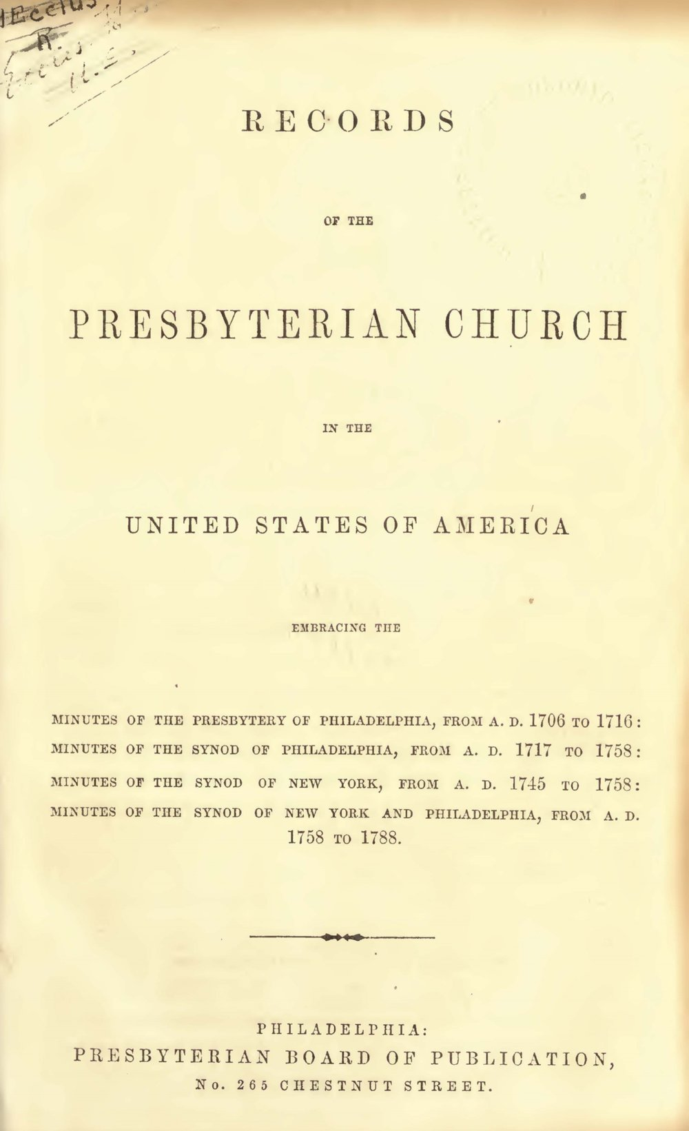 Engles, William Morrison, Records of the PCUSA Title Page.jpg