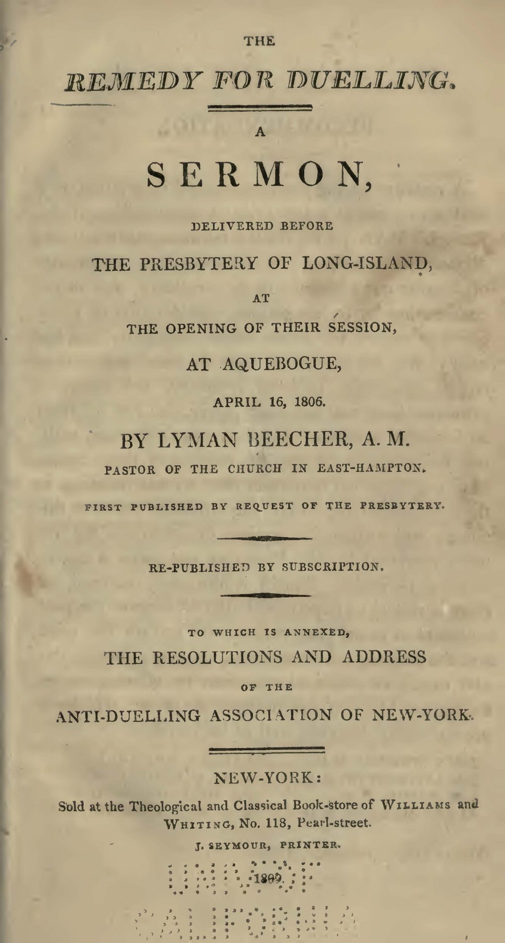 Beecher, Lyman, The Remedy for Duelling Title Page.jpg