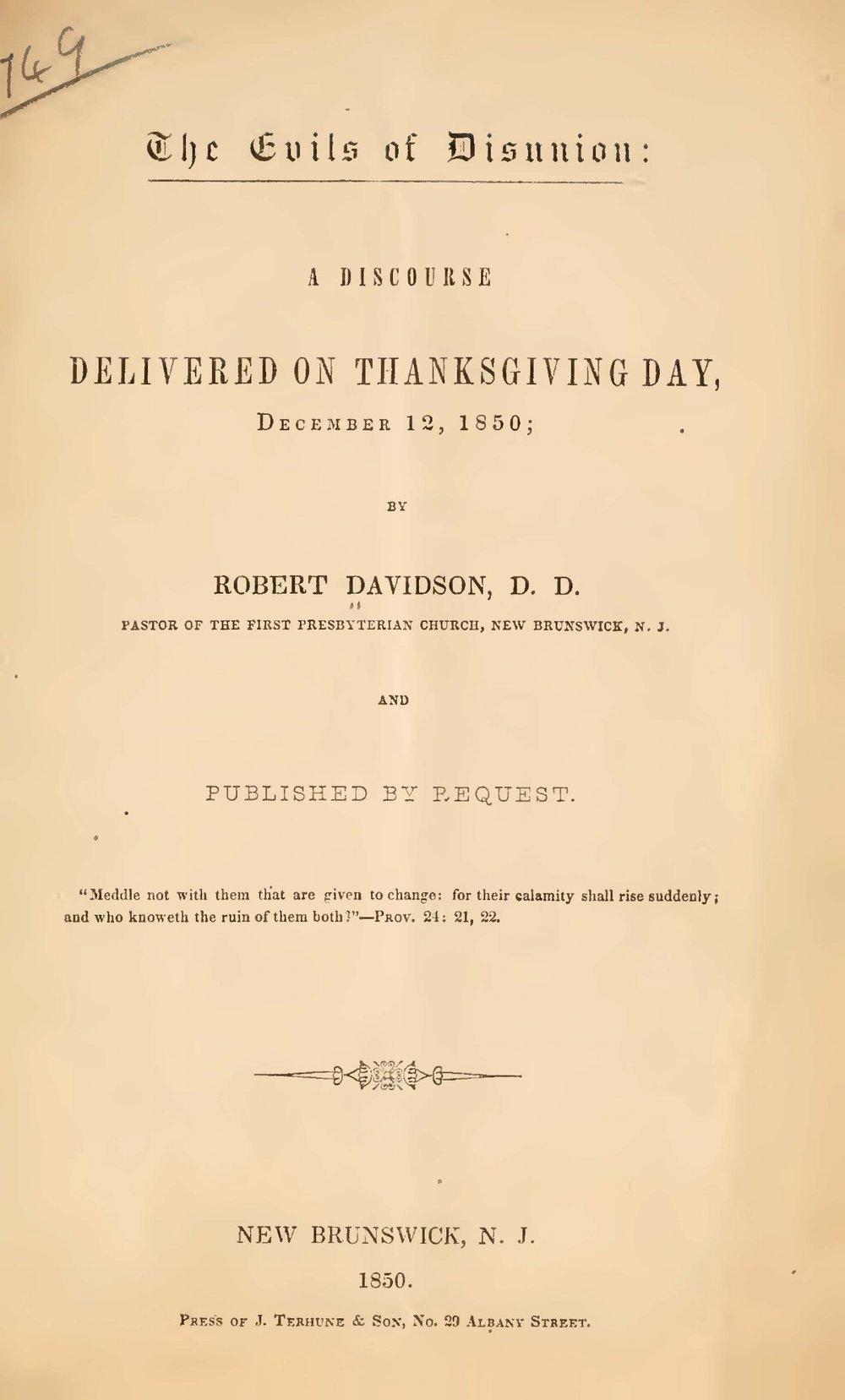Davidson, Robert, The Evils of Disunion Title Page.jpg