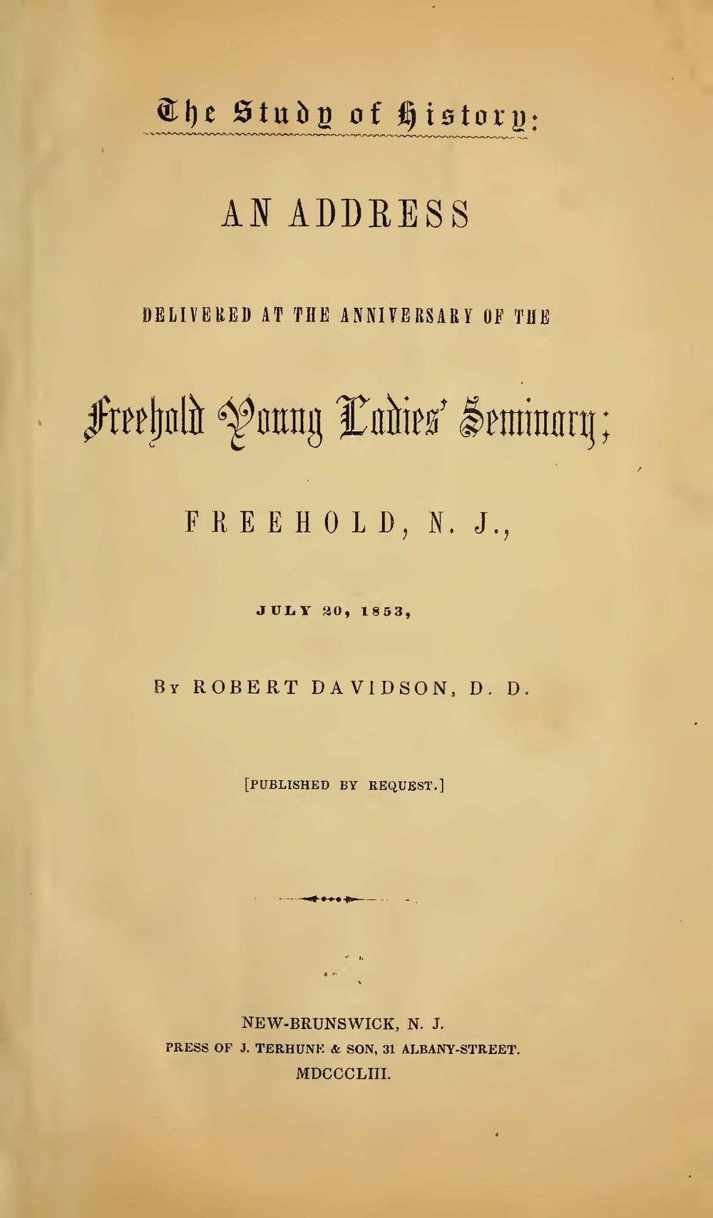Davidson, Robert, The Study of History Title Page.jpg