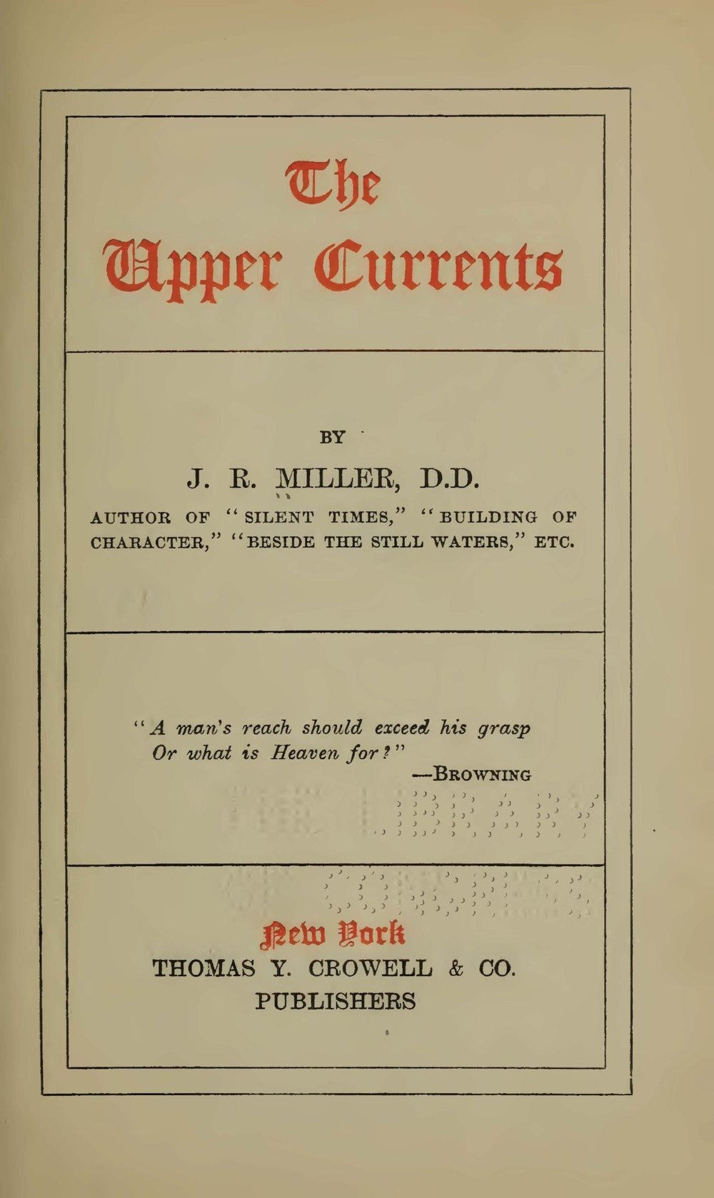 Miller, James Russell, The Upper Currents Title Page.jpg