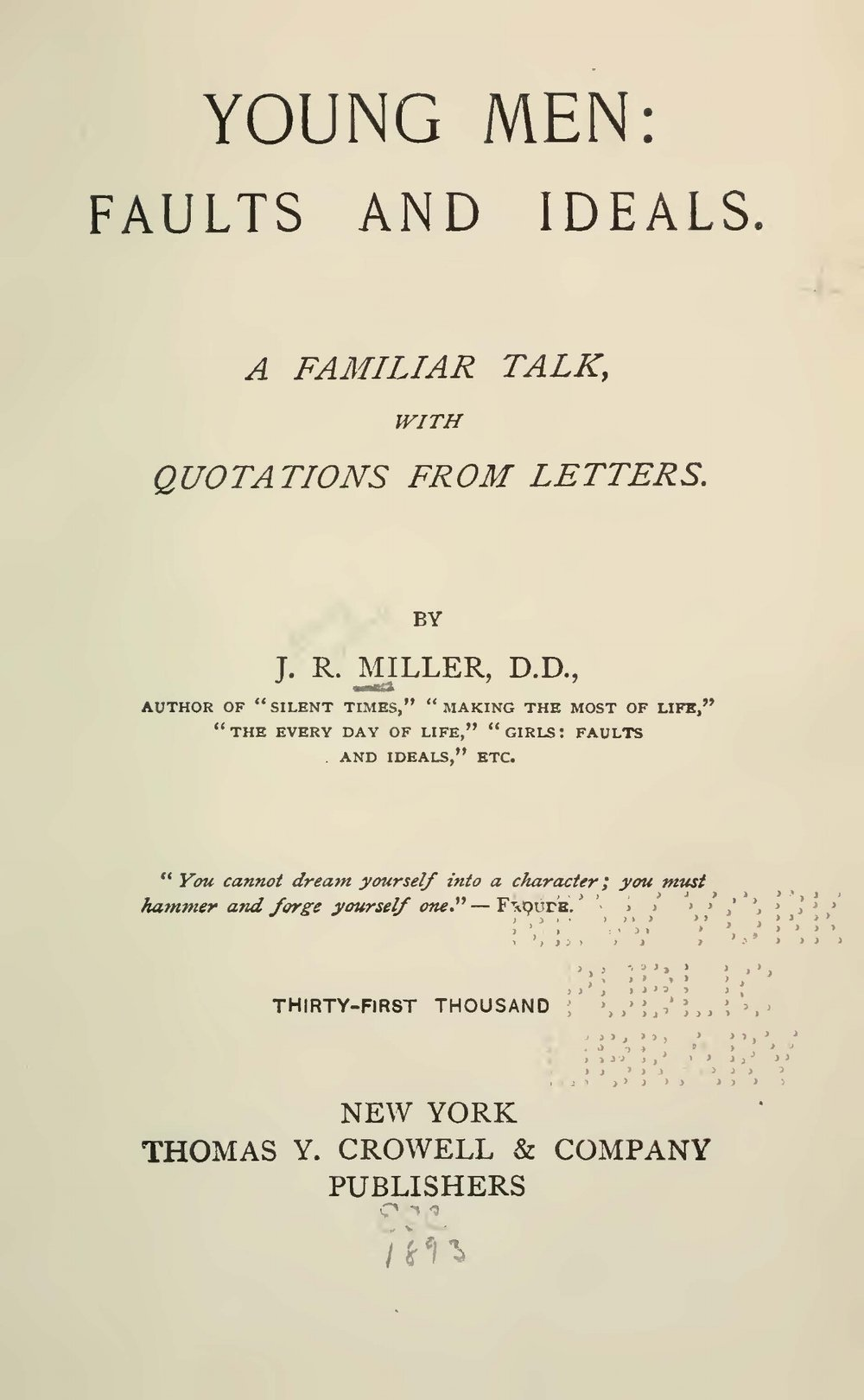 Miller, James Russell, Young Men Faults and Ideals Title Page.jpg