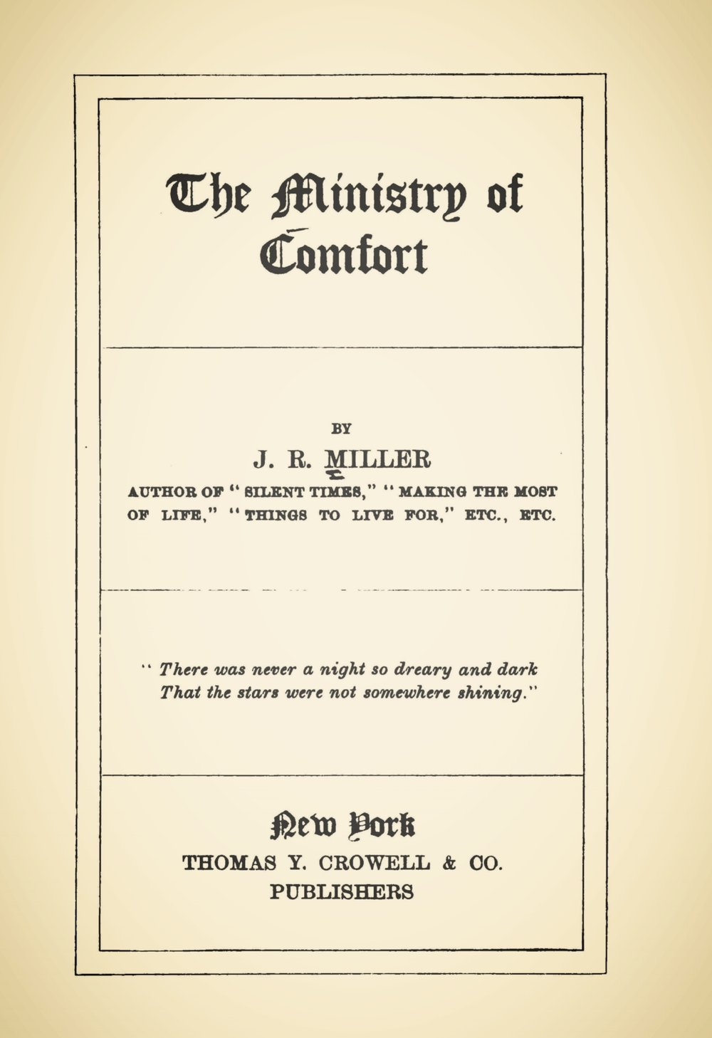 Miller, James Russell, The Ministry of Comfort Title Page.jpg