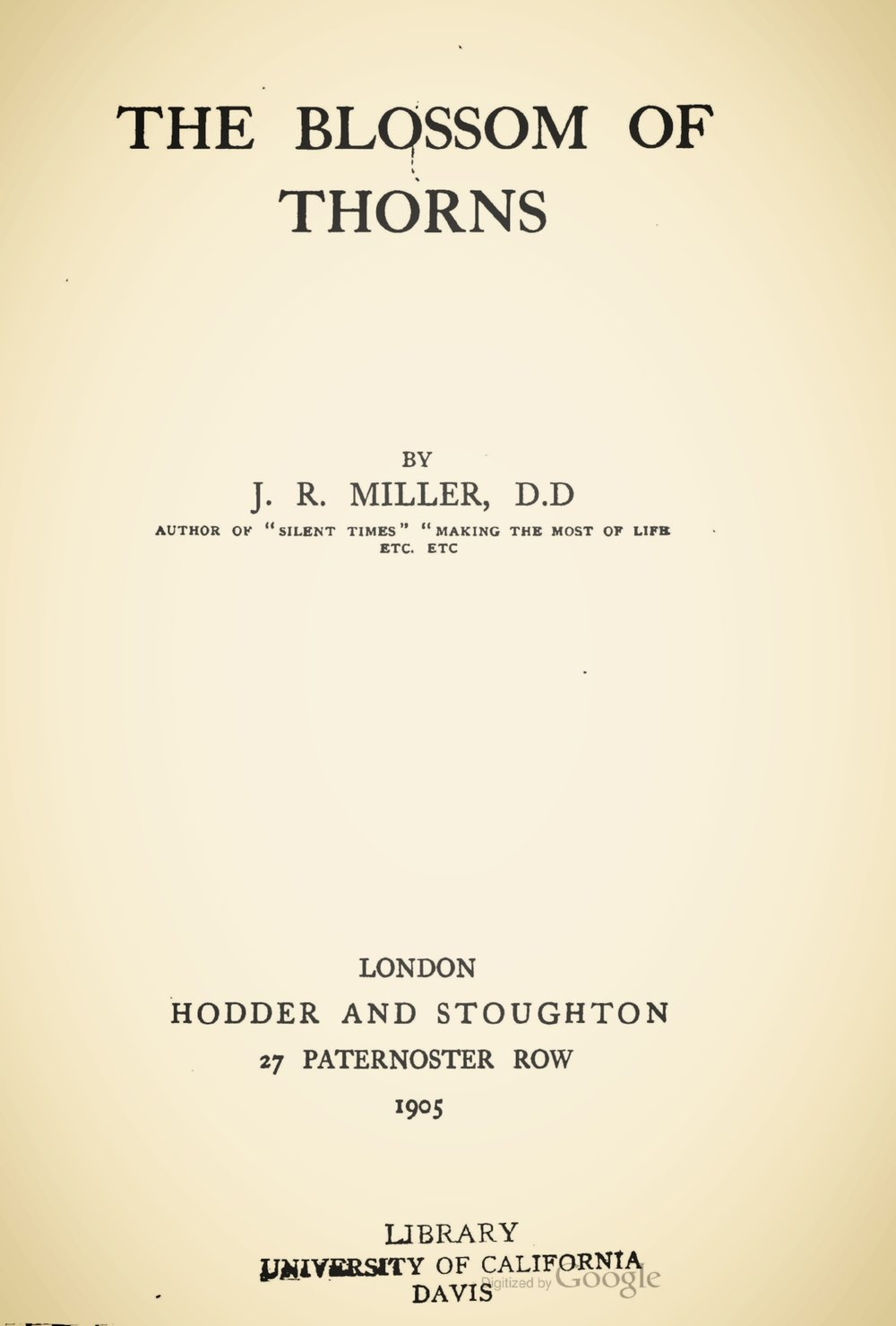 Miller, James Russell, The Blossom of Thorns Title Page.jpg