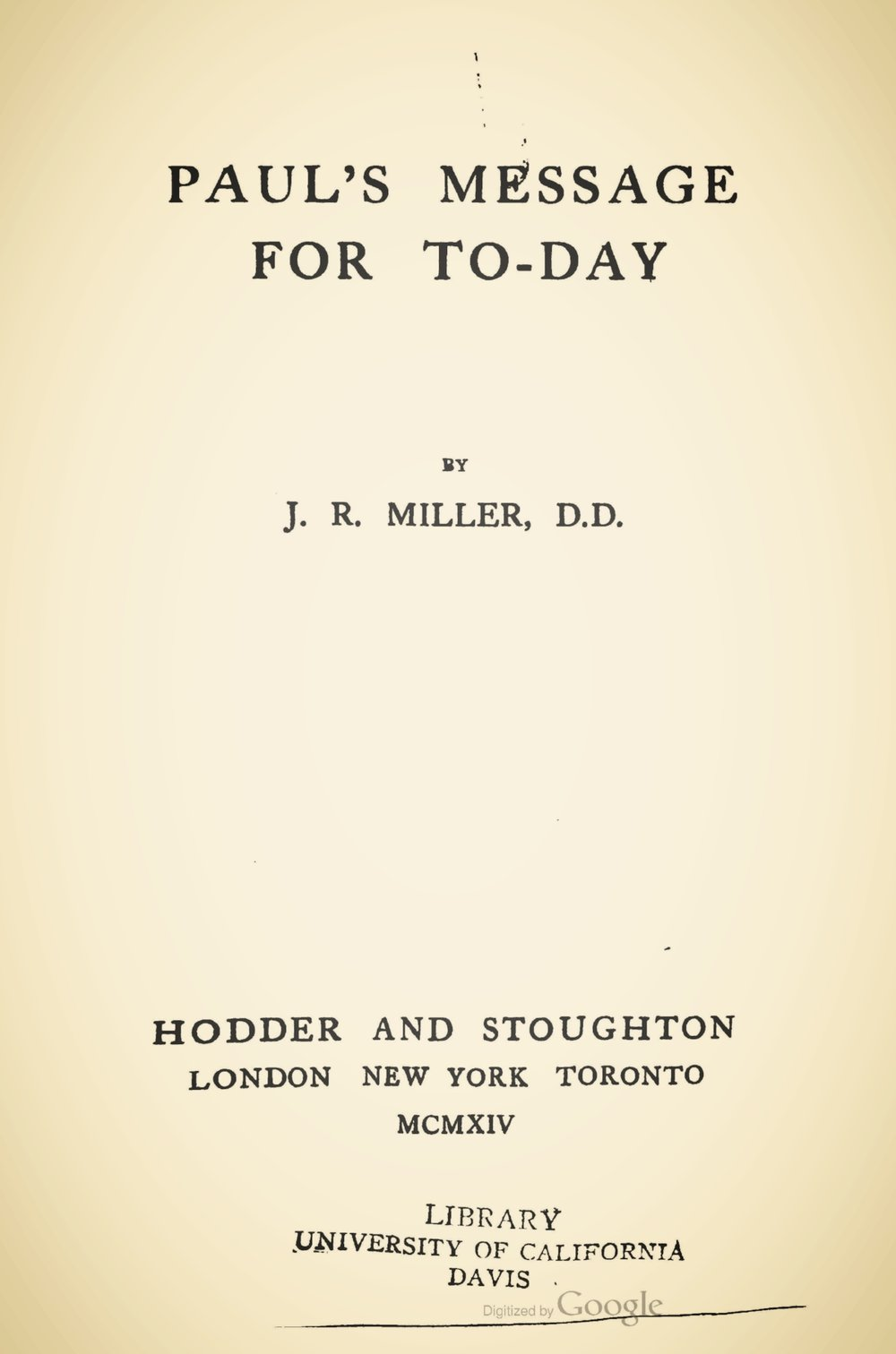 Miller, James Russell, Paul's Message for Today Title Page.jpg