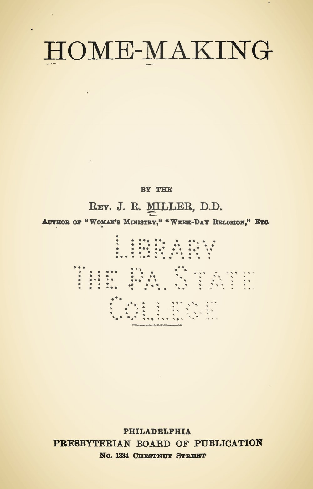 Miller, James Russell, Home-Making Title Page.jpg