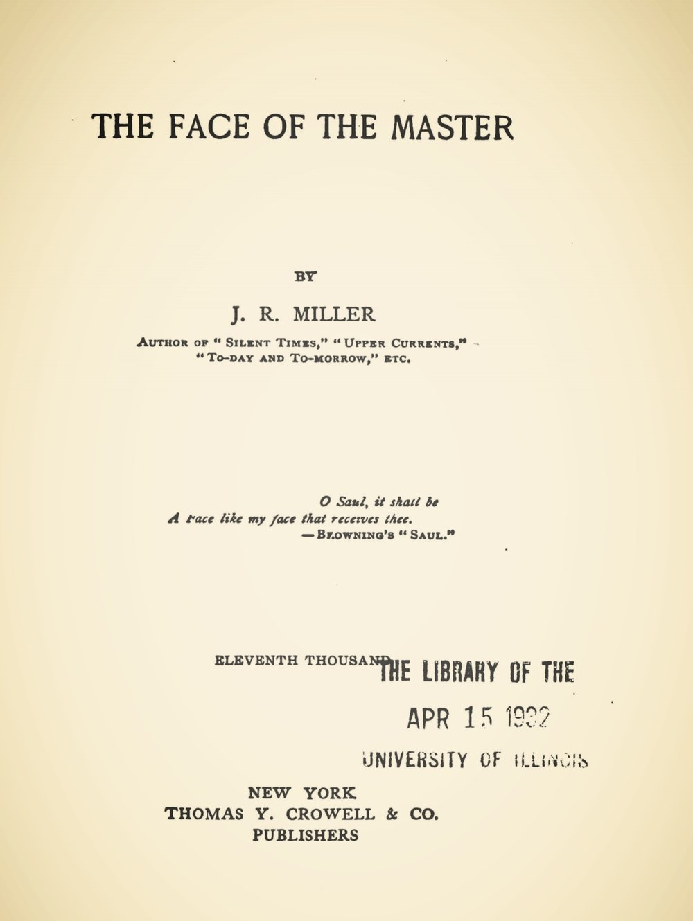 Miller, James Russell, The Face of the Master Title Page.jpg