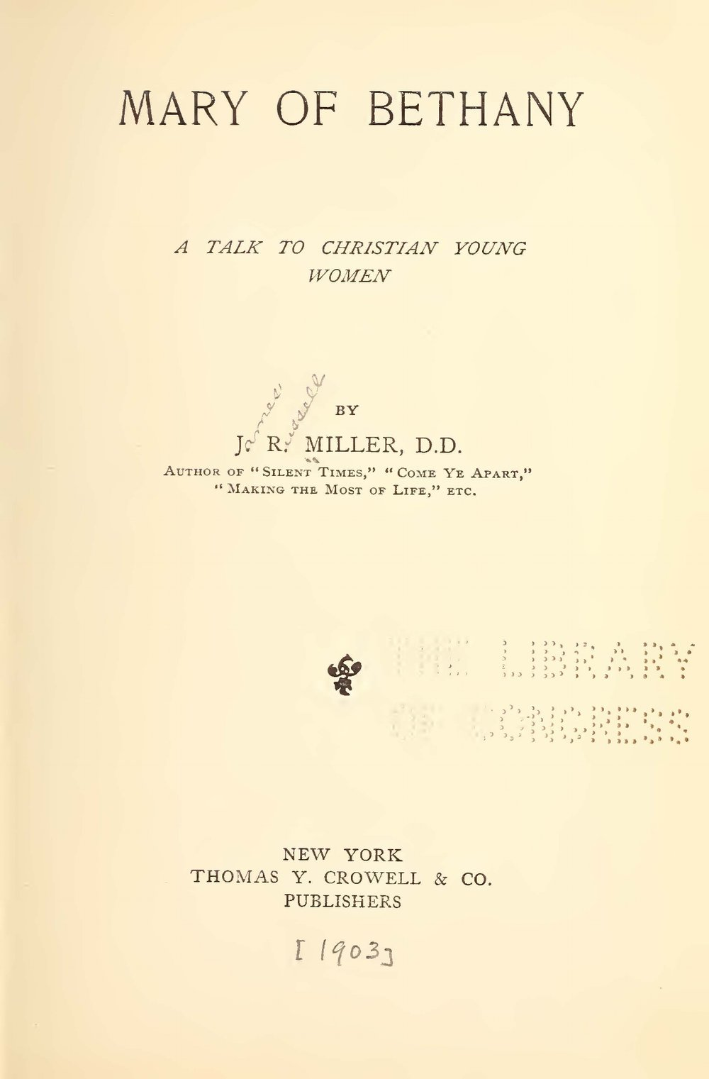 Miller, James Russell, Mary of Bethany Title Page.jpg
