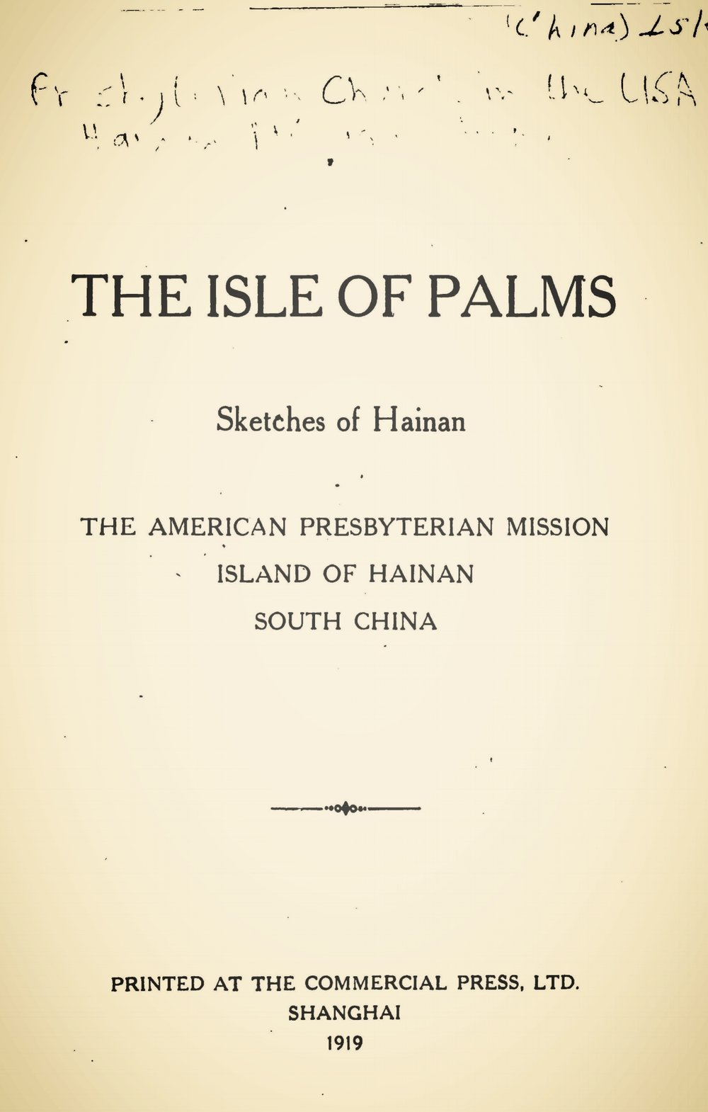 Gilman, Frank Patrick, The Isle of Palms Title Page.jpg