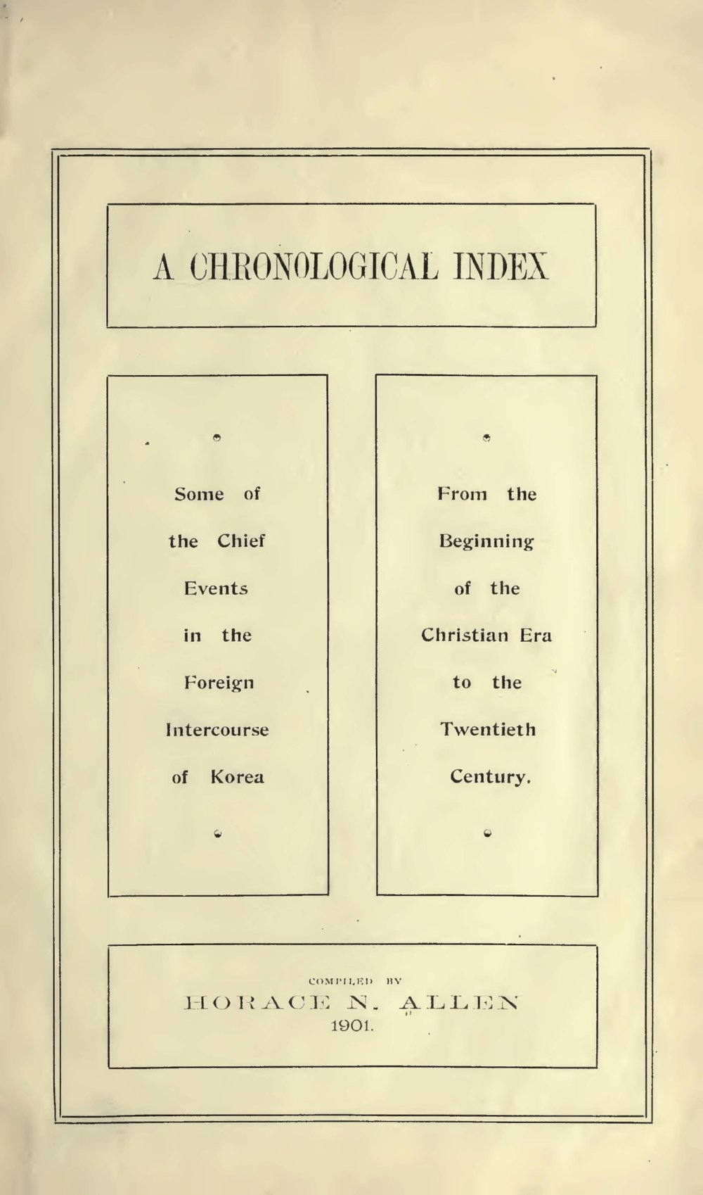 Allen, Horace Newton, A Chronological Index Title Page.jpg
