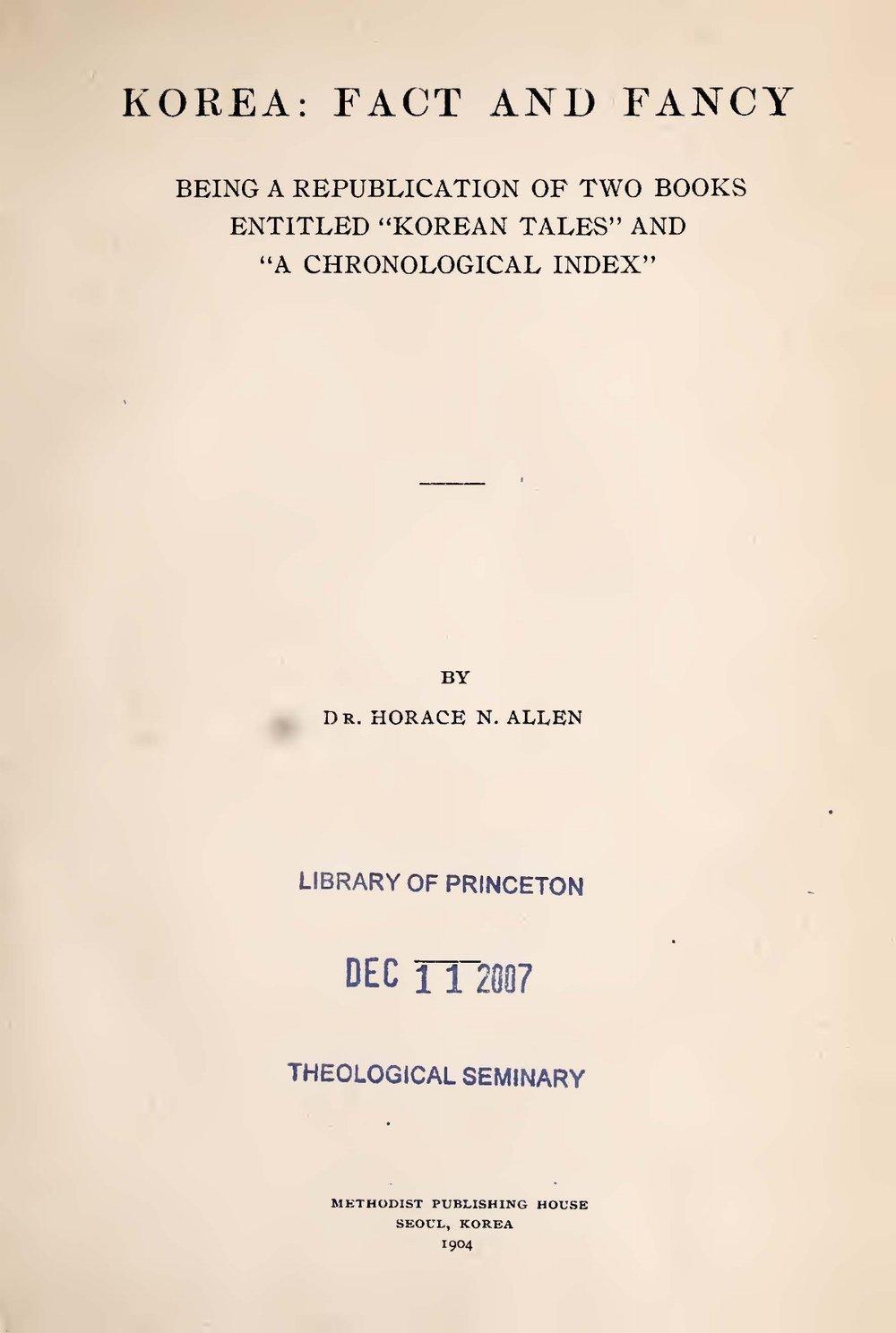 Allen, Horace Newton, Korea Fact and Fancy Title Page.jpg