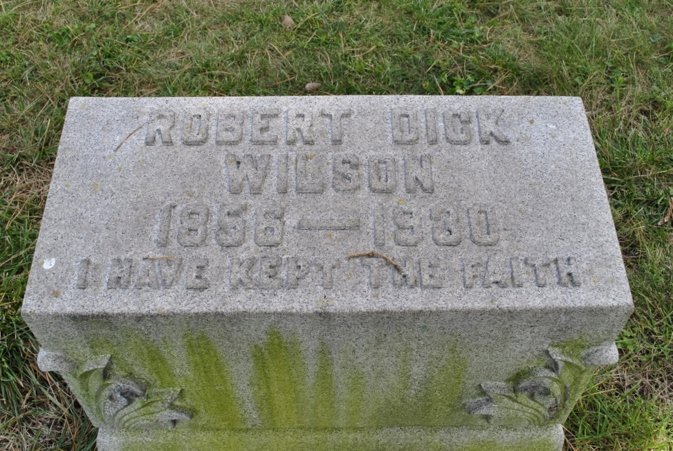 Robert Dick Wilson is buried at Oakland Cemetery and Mausoleum, Indiana, Pennsylvania.