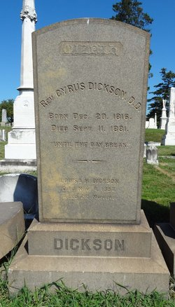 Cyrus Dickson is buried at Loudon Park Cemetery, Baltimore, Maryland.