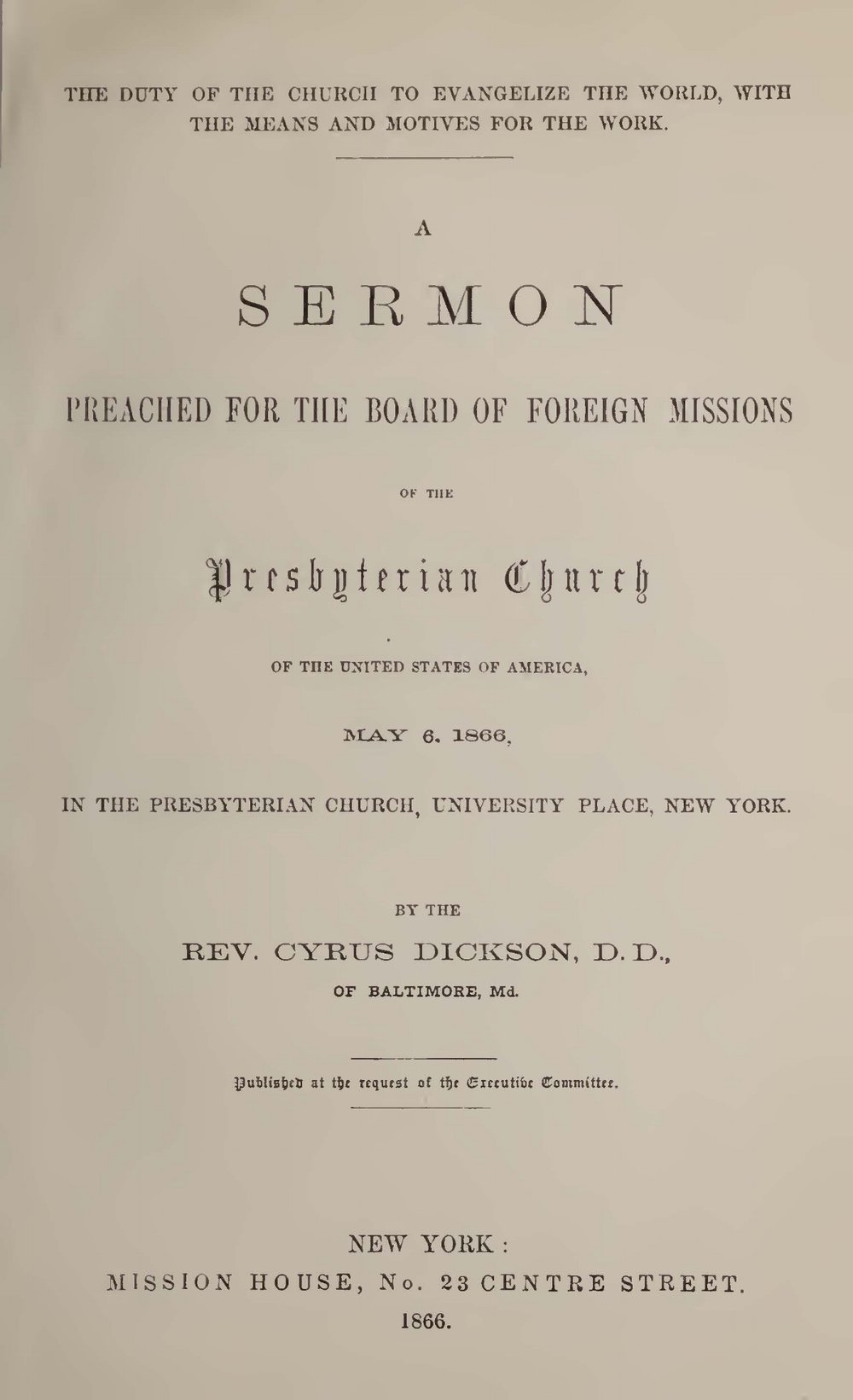 Dickson, Cyrus, Duty of the Church to Evangelize the World Title Page.jpg