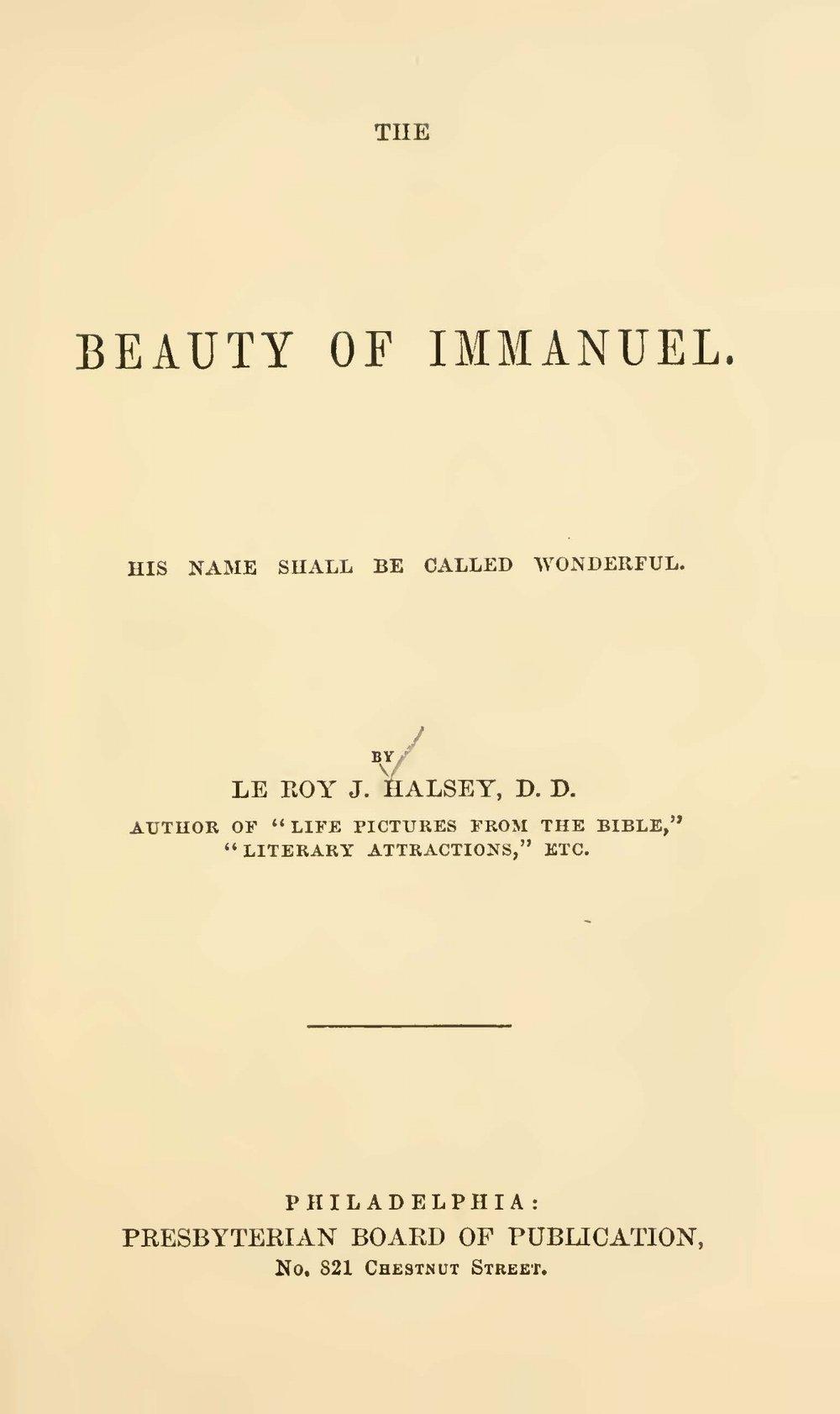 Halsey, Leroy Jones, The Beauty of Immanuel Title Page.jpg