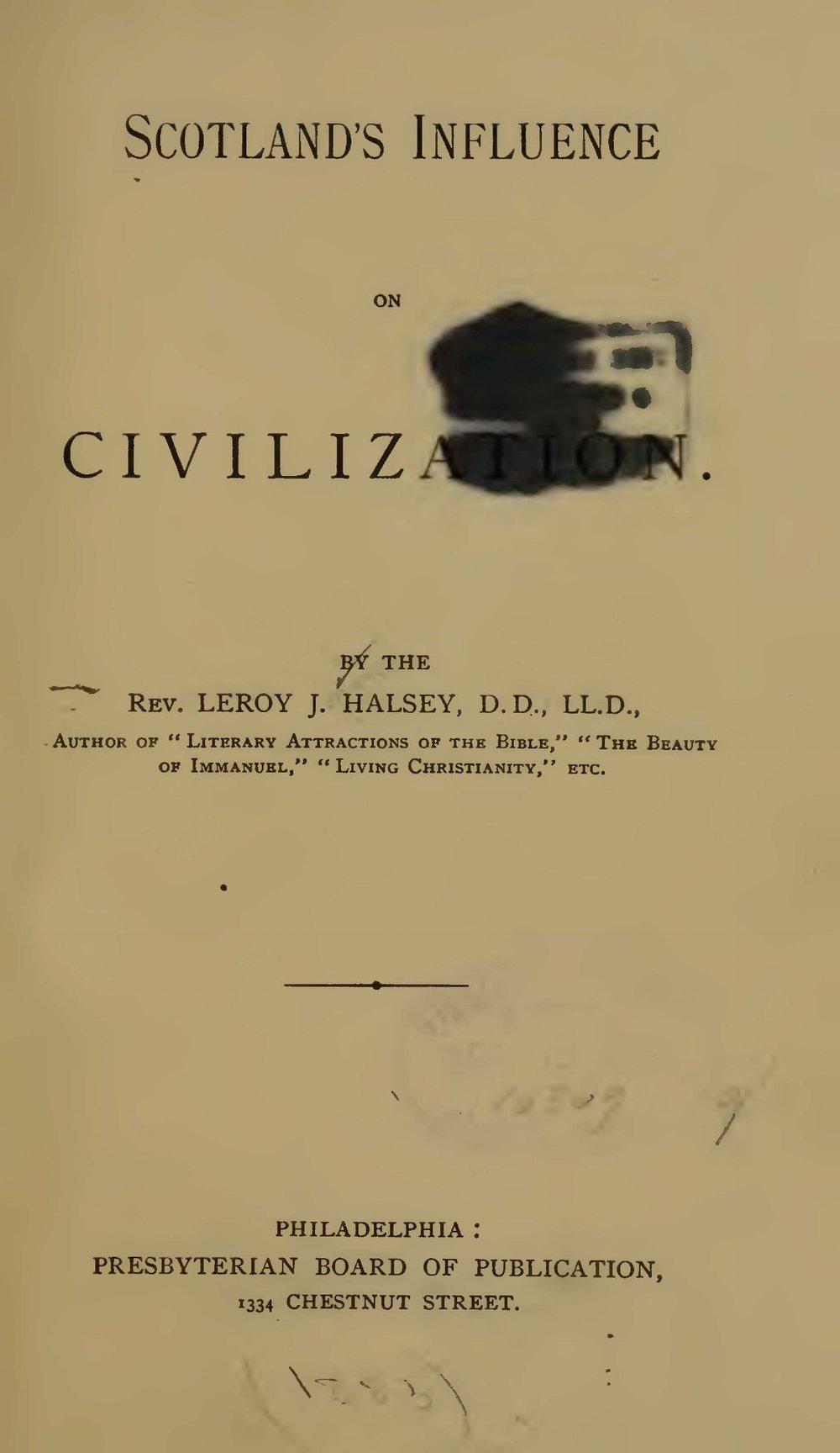 Halsey, Leroy Jones, Scotland's Influence on Civilization Title Page.jpg