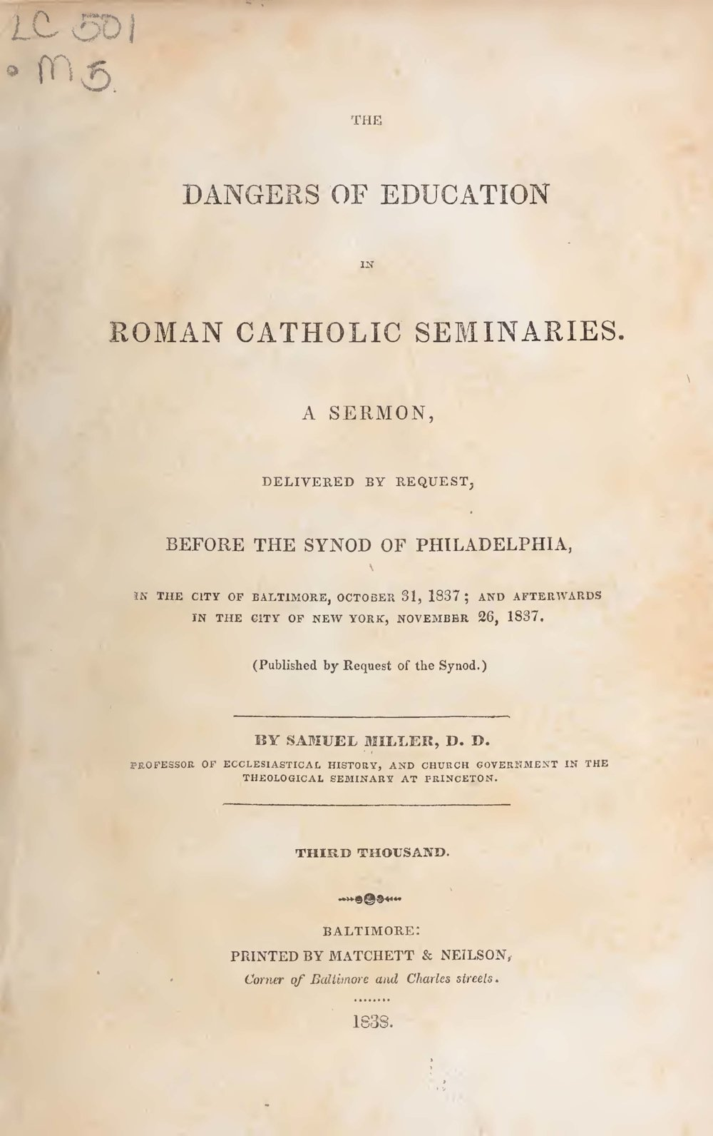 Miller, Samuel, The Dangers of Education in Roman Catholic Seminaries Title Page.jpg