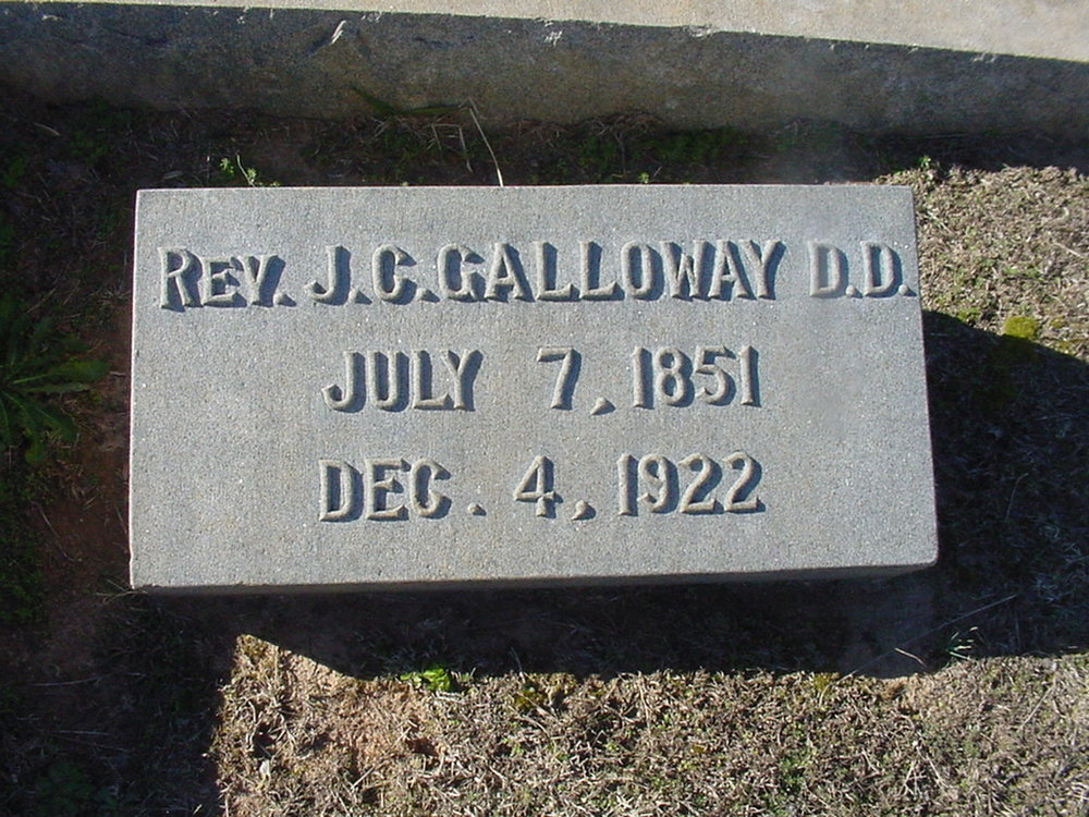 Jonathan Caldwell Galloway is buried at Oakwood Cemetery, Gastonia, North Carolina.