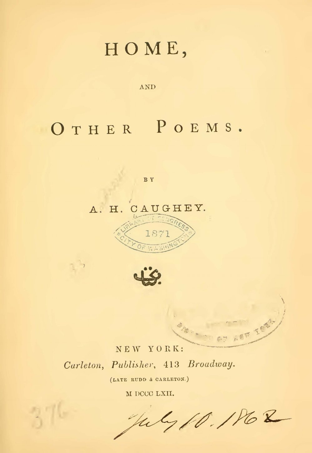 Caughey, Andrew Hervey, Home, and Other Poems Title Page.jpg