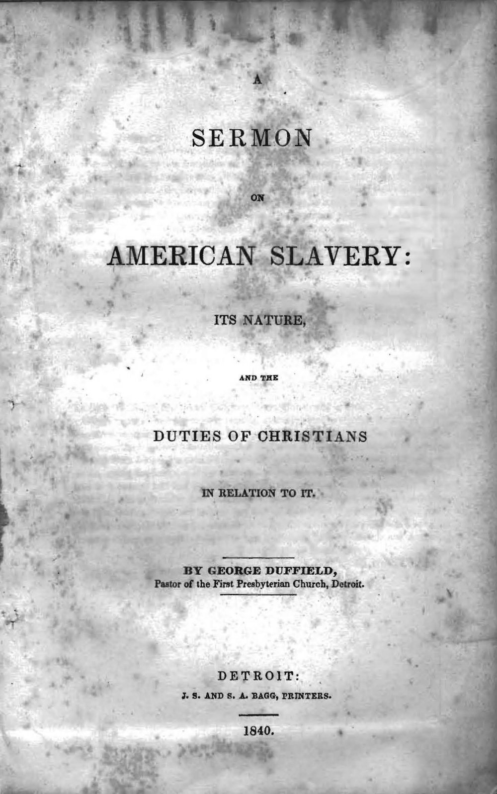 Duffield, IV, George, A Sermon on American Slavery Title Page.jpg