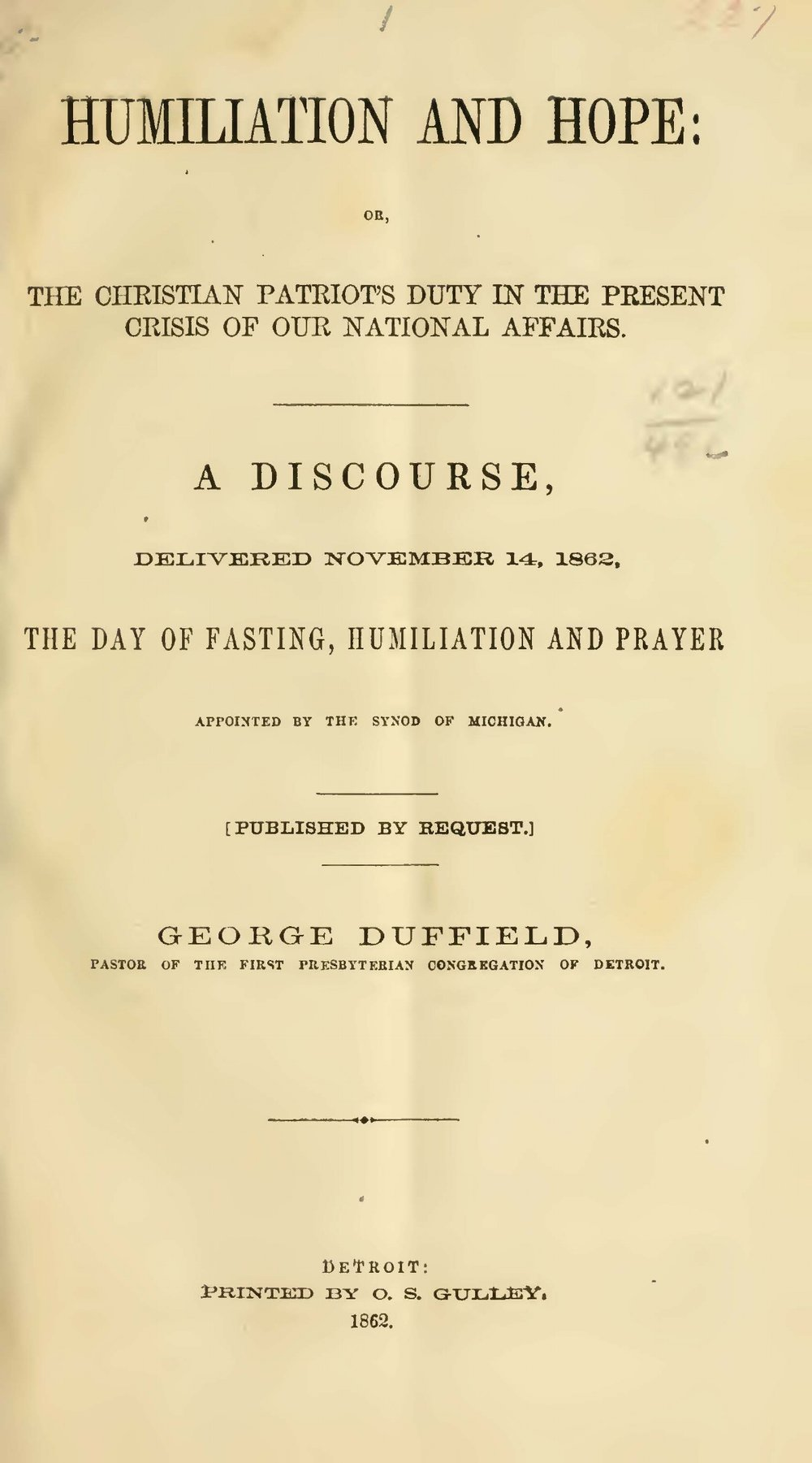 Duffield, IV, George, Humiliation and Hope Title Page.jpg