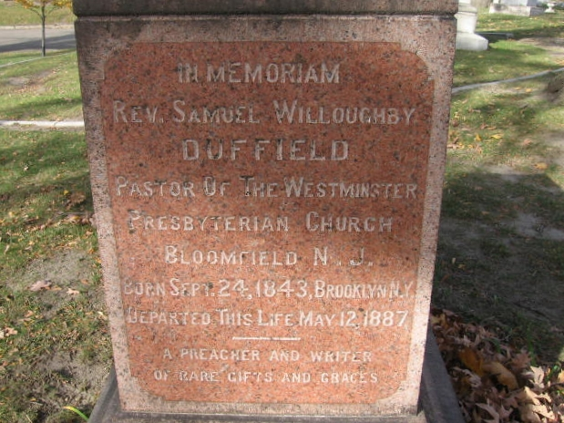 Samuel Willoughby Duffield is buried at Elmwood Cemetery, Detroit, Michigan.