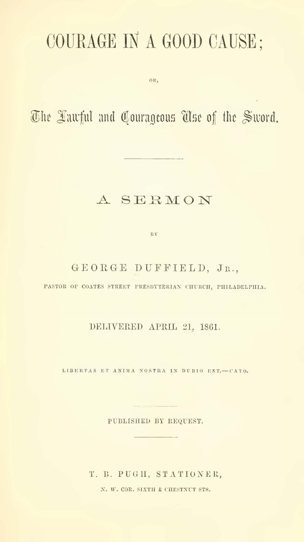 Duffield, V, George, Courage in a Good Cause Title Page.jpg