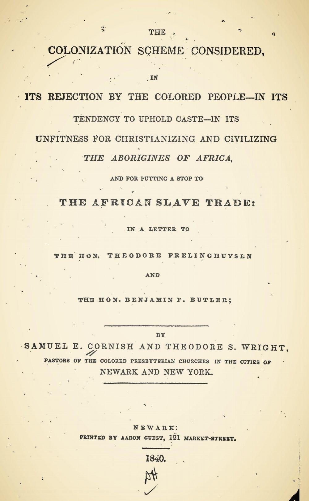 Cornish, Samuel Eli, The Colonization Scheme Considered Title Page.jpg