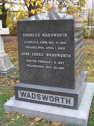 Charles Wadsworth is buried at Woodlands Cemetery, Philadephia, Pennsylvania.