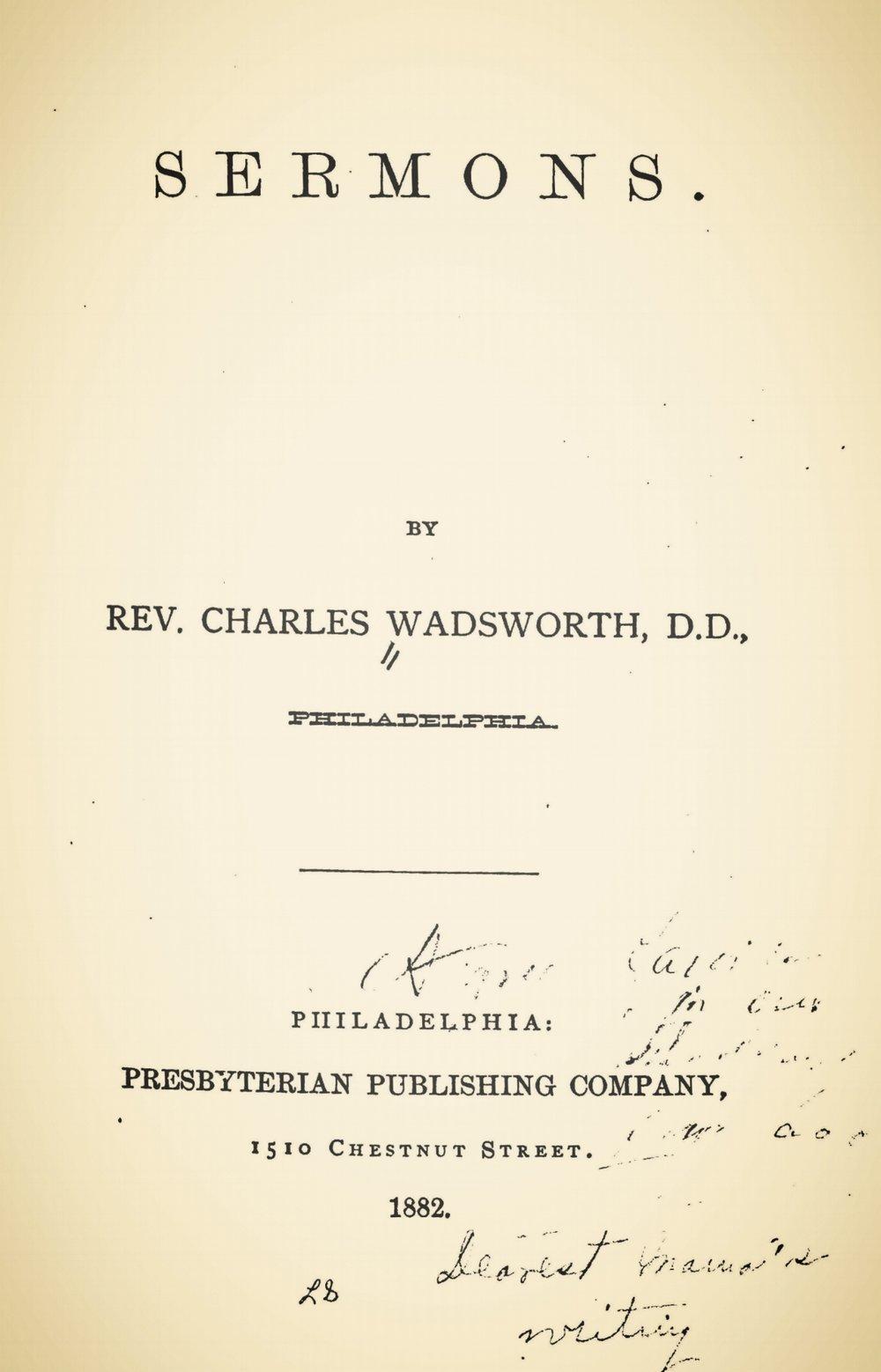 Wadsworth, Charles, Sermons 1882 Title Page.jpg