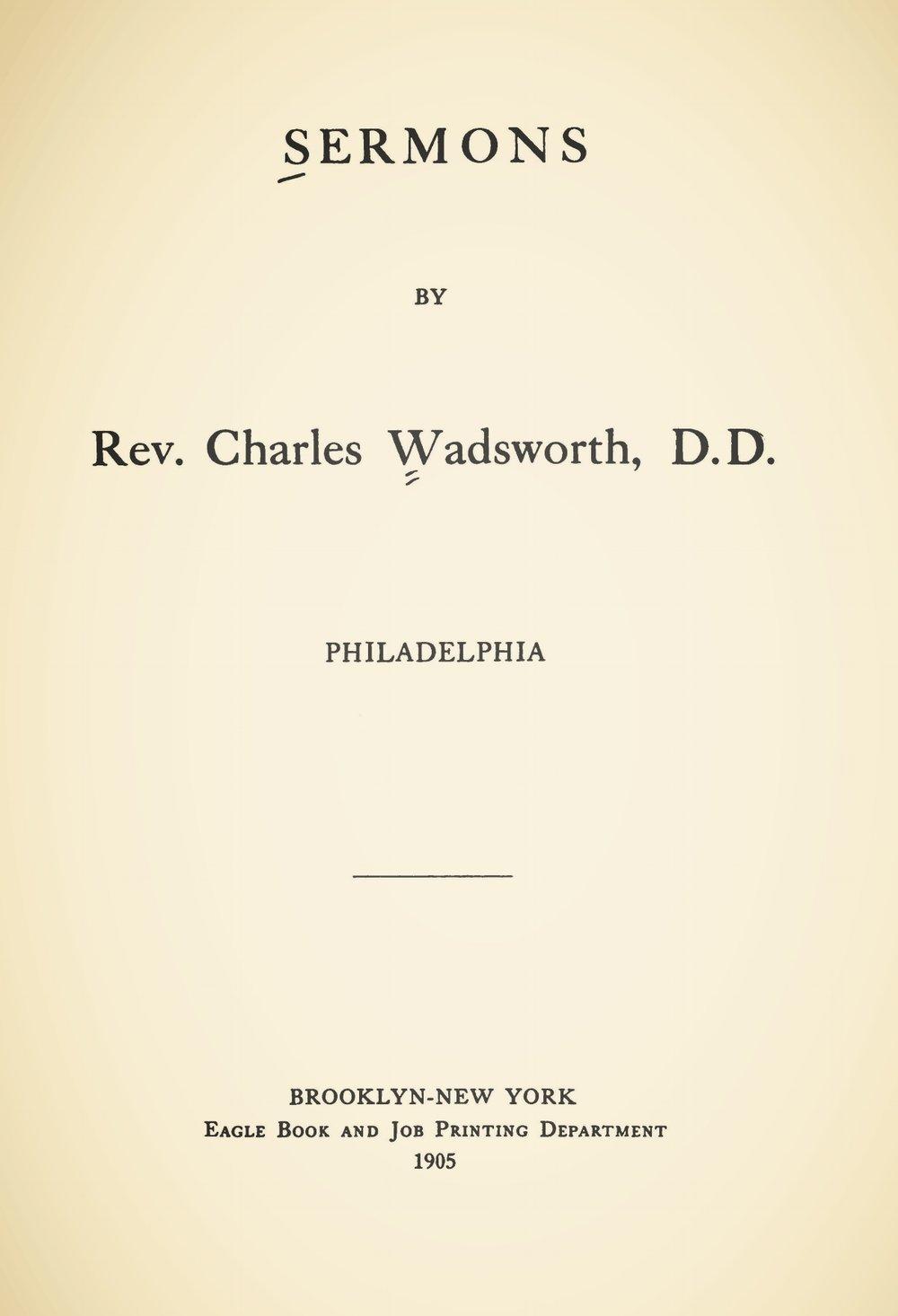 Wadsworth, Charles, Sermons 1905 Title Page.jpg