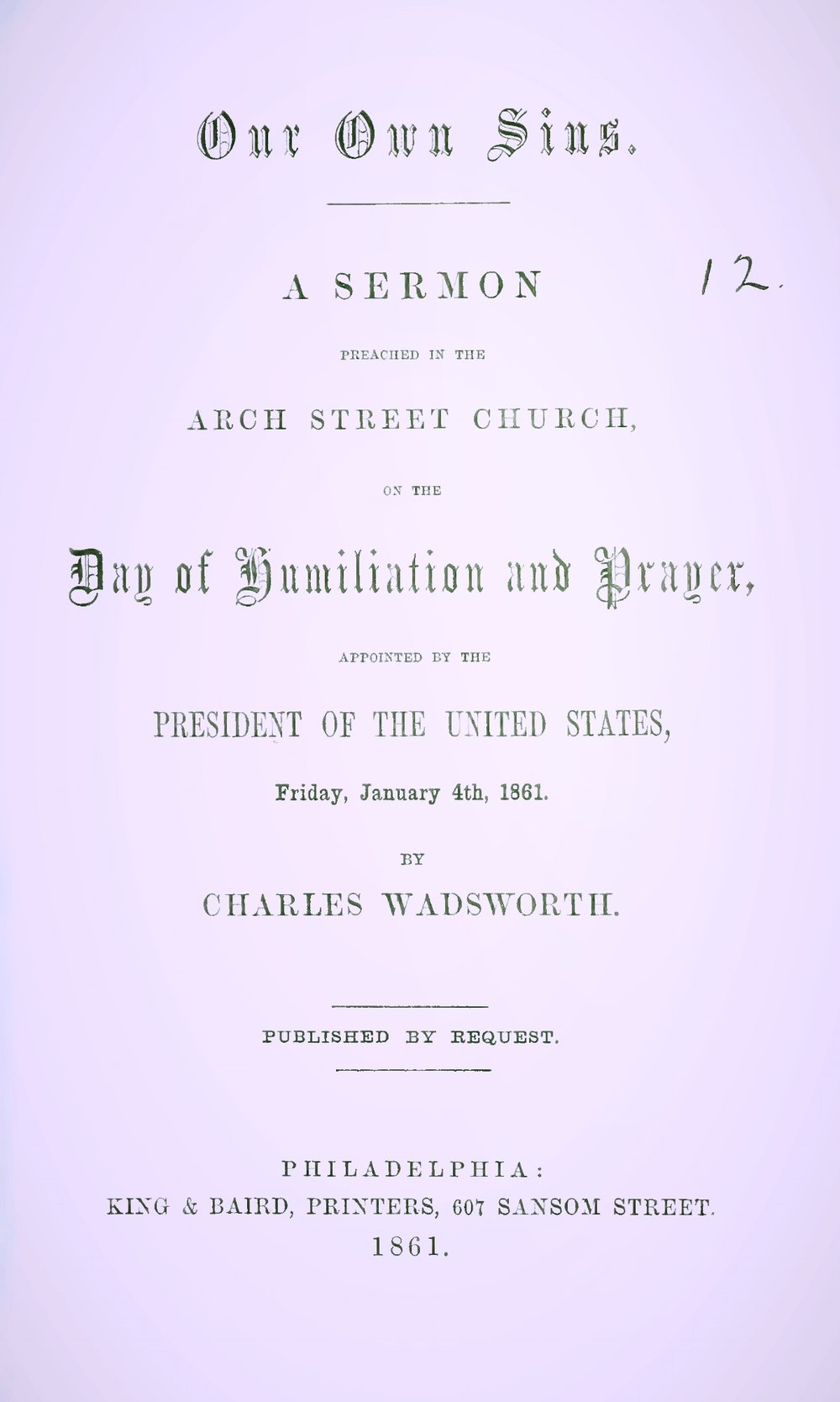 Wadsworth, Charles, Our Own Sins Title Page.jpg