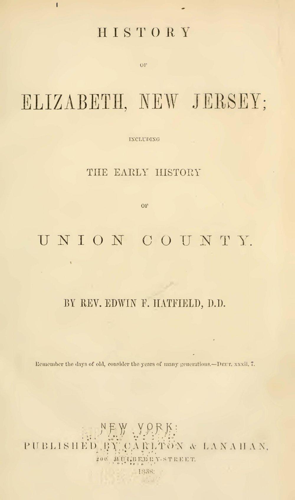 Hatfield, Edwin Francis, History of Elizabeth, New Jersey Title Page.jpg