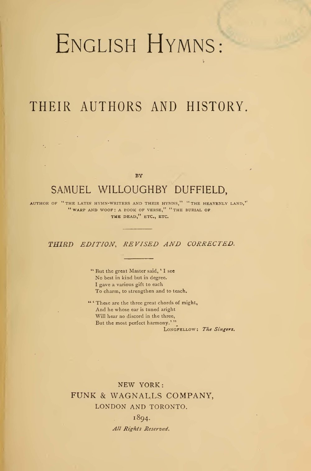 Duffield, Samuel Willoughby, English Hymn, Their Authors and History Title Page.jpg