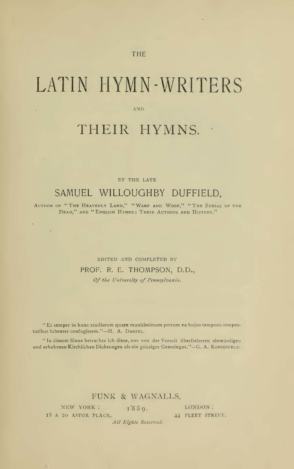 Duffield, Samuel Willoughby, The Latin Hymn-Writers and Their Hymns Title Page.jpg