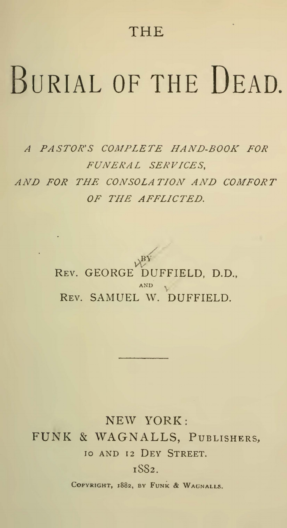 Duffield, Samuel Willoughby, The Burial of the Dead Title Page.jpg