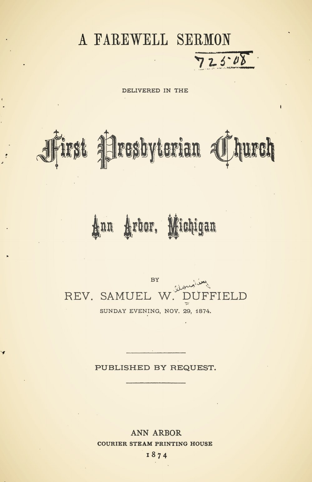 Duffield, Samuel Willoughby, A Farewell Sermon Title Page.jpg