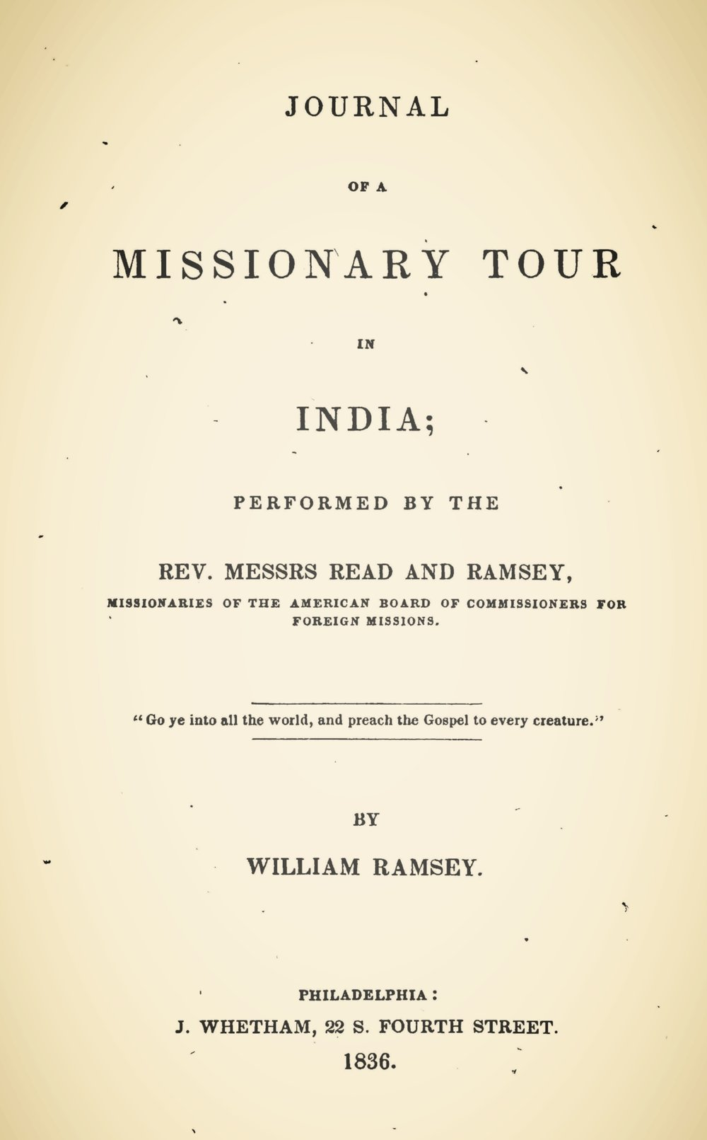 Ramsey, William, Journal of a Missionary Tour in India Title Page.jpg