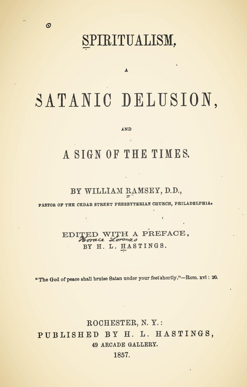 Ramsey, William, Spiritualism Title Page.jpg
