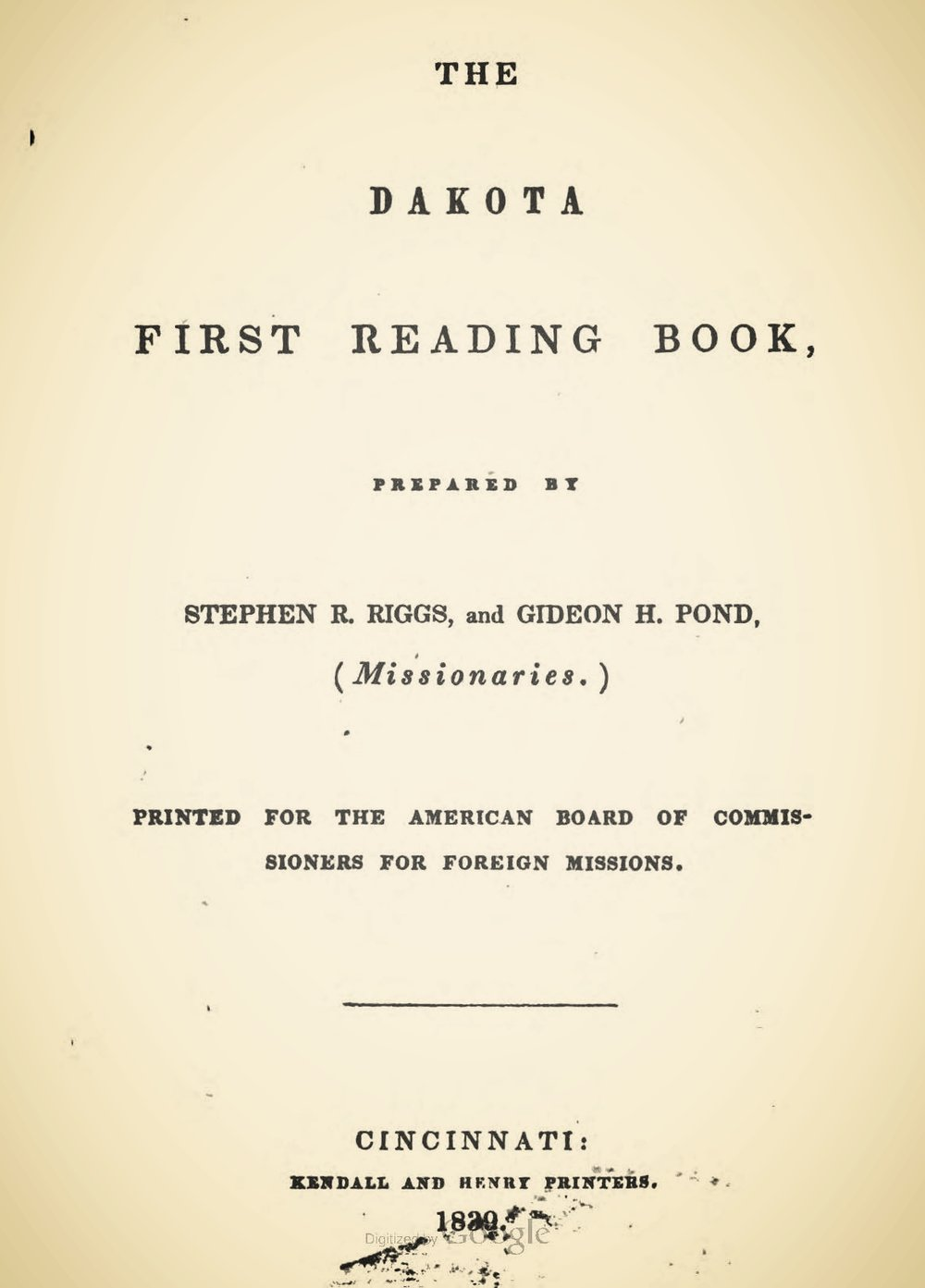 Riggs, Stephen Return, The Dakota First Reading Book Title Page.jpg