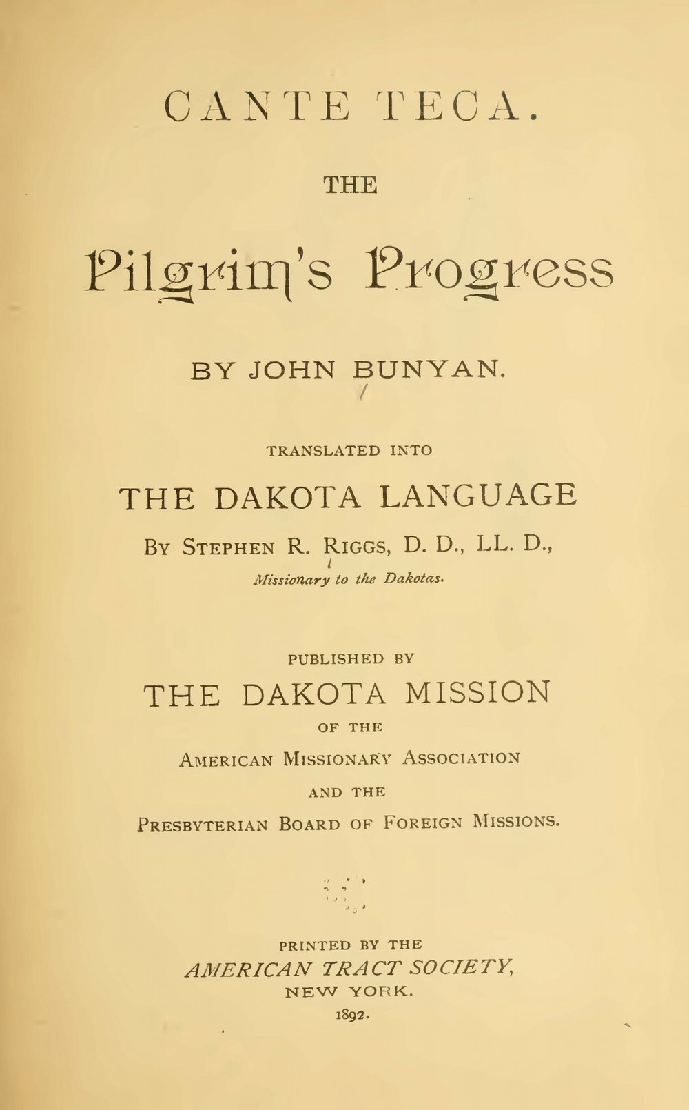 Riggs, Stephen Return, Cante Teca The Pilgrim's Progress Title Page.jpg