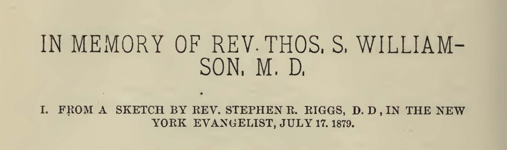 Riggs, Stephen Return, In Memory of Rev. Thos. S. Williamson, M.D. Title Page.jpg