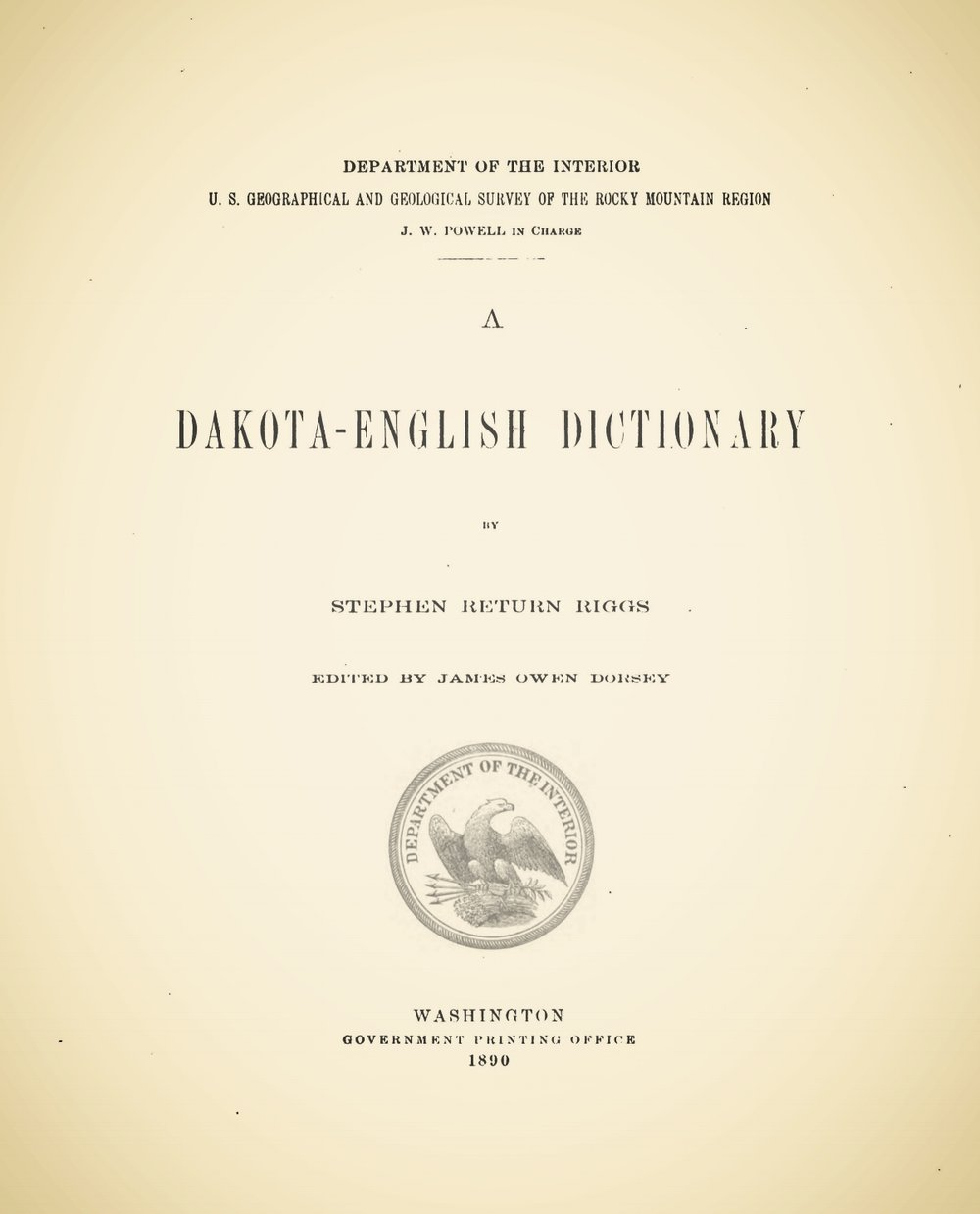 Riggs, Stephen Return, A Dakota-English Dictionary Title Page.jpg