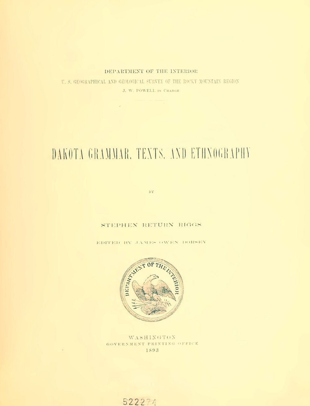 Riggs, Stephen Return, Dakota Grammar, Texts, and Ethnography Title Page.jpg