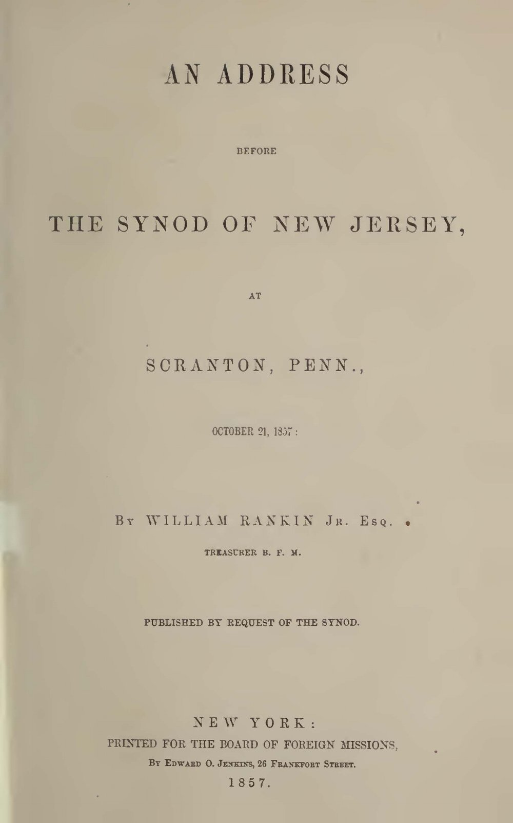 Rankin, William, Address Before the Synod of New Jersey Title Page.jpg