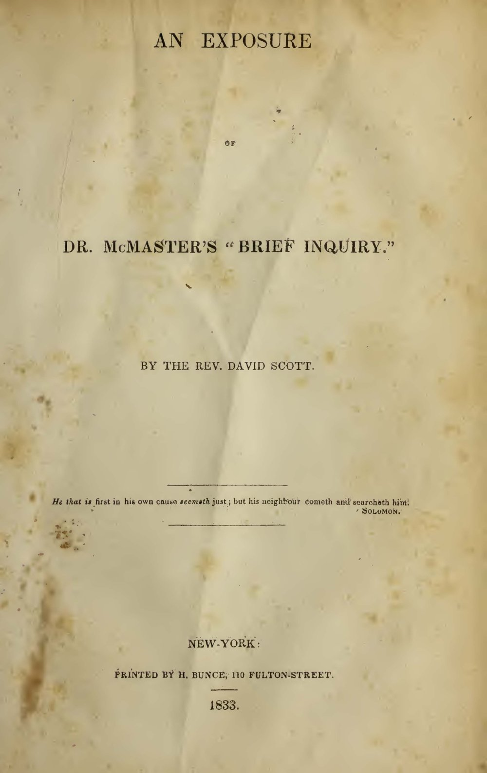 Scott, David, An Exposure of Dr. McMaster's Brief Inquiry Title Page.jpg