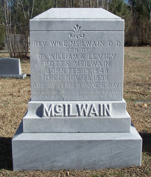 William Erskine McIlwain is buried at Banks Presbyterian Church Cemetery, Marvin, North Carolina.