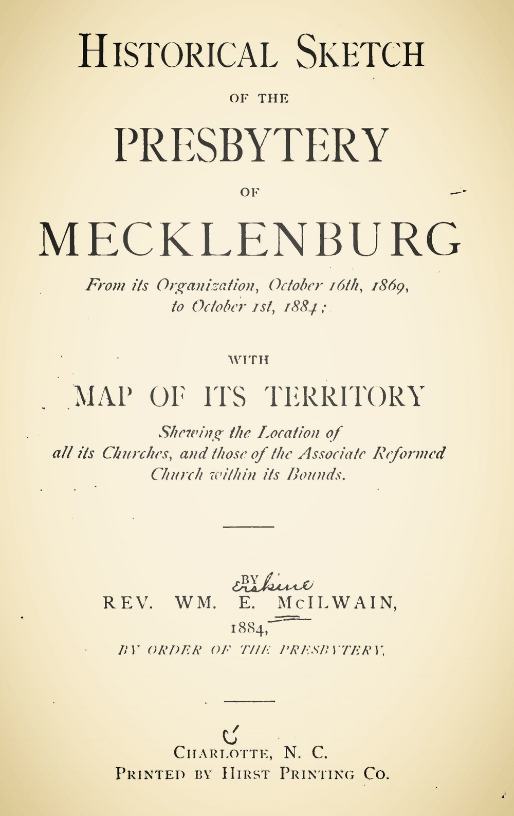 McIlwain, William Erskine, Historical Sketch of the Presbytery of Mecklenburg Title Page.jpg
